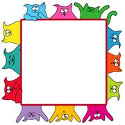 Many amusing cats around a square billboard - stock illustration