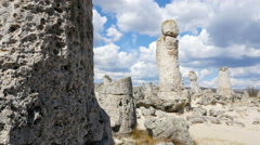 Pobiti kamani, natural rock formations in Bulgaria Stock Footage