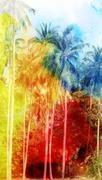 Abstract tropical landscape - stock illustration
