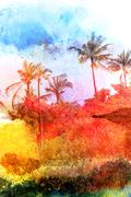 Abstract tropical landscape Stock Illustration