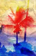 Stock Illustration of Abstract tropical landscape