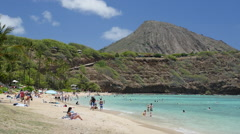 Hawaiian Beach scene Hanauma Bay - stock footage
