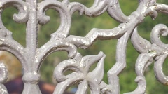 Metal fence details in spa resort Herculane located in  western Romania 4K 21 Stock Footage