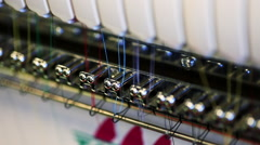 Closeup of Thread in Industrial Sewing Machine Stock Footage