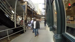 People in a rush hour on Metro train in downtown Chicago, Illinois, USA Stock Footage
