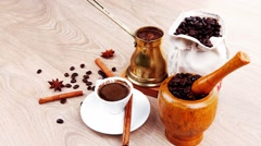 Black arabic coffee served with accesories on table Stock Footage