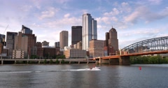 Pittsburgh Skyline Establishing Shot in the Early Evening - stock footage