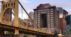 Passing Under Roberto Clemente Bridge Early Evening Stock Footage