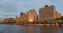 Passing Under Fort Duquesne Bridge Early Evening Stock Footage