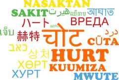 Hurt multilanguage wordcloud background concept Stock Illustration