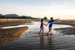 Caucasian children walking in tide pools on beach, Cannon Beach, Oregon, United Stock Photos