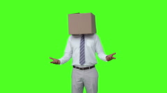 Businessman with box over head and shrugging Stock Footage