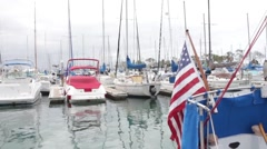 American Flag, Boats Harbour, Dana Point, California, United States of Americ Stock Footage