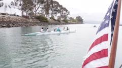 Sailing through Dana Point California Harbor Stock Footage