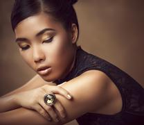 Close up of glamorous woman with eyes closed Stock Photos