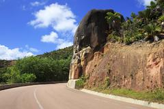 New road around the hotel Raffles Praslin Seychelles Stock Photos