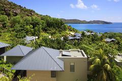 Villas on the hotel Raffles Praslin Seychelles Stock Photos