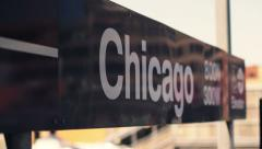 Chicago L Train Sign Rack Focus - stock footage