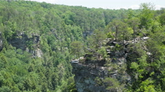 Hikers on Cliff Aerial at Fall Creek Falls Tennessee Stock Footage