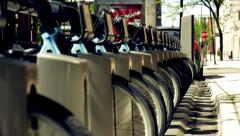 City Rental Bikes in a Row Stock Footage