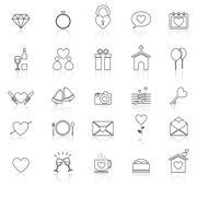 Wedding line icons with reflect on white - stock illustration