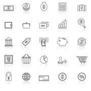 Money line icons with reflect on white Stock Illustration