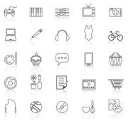 Hobby line icons with reflect on white - stock illustration
