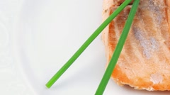 Grilled norwegian salmon fillet Stock Footage