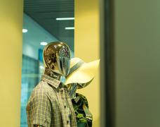 Robot Mannequin in Shop Window Stock Photos