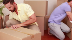 Men preparing relocation Stock Footage