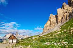 Small church near Tre Cime di Lavaredo, Dolomites - stock photo