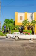 Lassic American cars in Havana, Cuba Stock Photos
