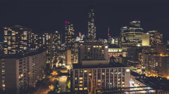 Toronto Skyline Cityscape CN Tower Night Timelapse South View Wide Stock Footage