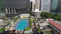 Along MBFC Dolly backwards revealing The Fullerton Bay Hotel Stock Footage