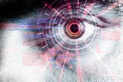 Rendering of a futuristic cyber eye with laser light effect Stock Illustration