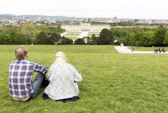 Schonbrunn Palace couple - stock photo