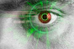 rendering of a futuristic cyber eye with laser light effect - stock illustration