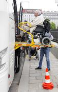 Physically disabled bus accessibility platform Stock Photos
