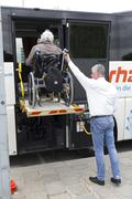 Physically disabled bus accessibility platform - stock photo
