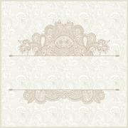light floral frame on paisley background with place for your tex - stock illustration