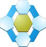 Four Blank hexagon relationship  business diagram illustration - stock illustration