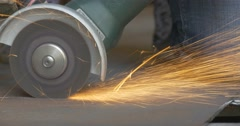 Abrasive Cutting With Angle Grinder,Machine, Hand-Held Power Tool,Grinding Wheel - stock footage