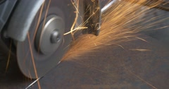 Stock Video Footage of Abrasive Cutting With Angle Grinder,Machine, Hand-Held Power Tool,Grinding Wheel