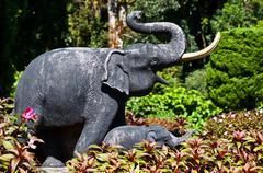 Elephant of traditional thai style wood carving - stock photo