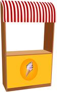 Ice cream kiosk with red striped sunshade Stock Illustration