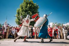 Knights In Fight With Sword. Restoration Of Knightly Battle Stock Photos