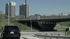 Highway traffic on ramp Stock Footage