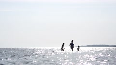 People rest on a sea swimming during weekend Stock Footage