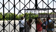 Stock Video Footage of Dachau Concentration Camp - Arbeit Macht Frei Gate