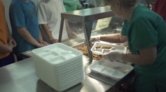 Scenes from a school cafeteria Stock Footage